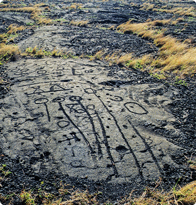 Petroglyphs at Pu'uloa, Ka'ū, Big Island of H