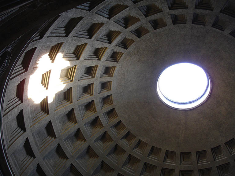 The roof of the Pantheon in Rome, Italy, with sunl