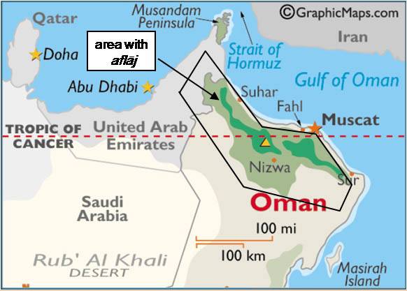 Area of Oman with <i>aflāj</i>. Base map from <