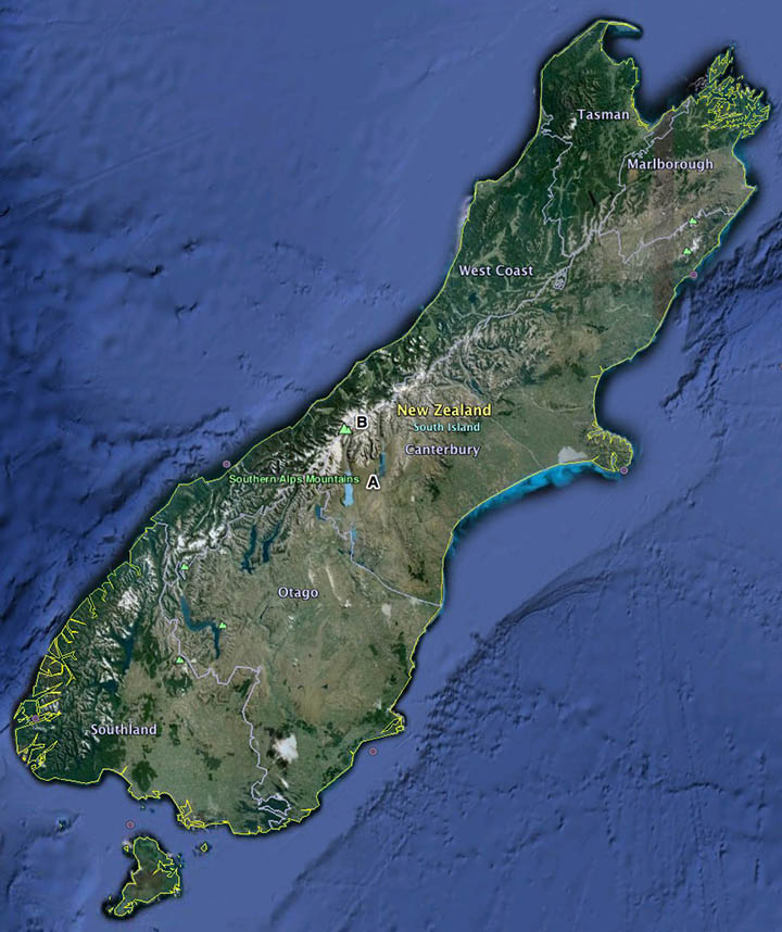 Location of the property in New Zealand South Isla