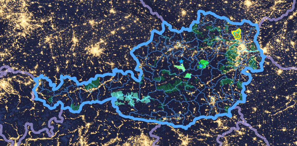 The Alpine Arc and Central Europe at night.  <str