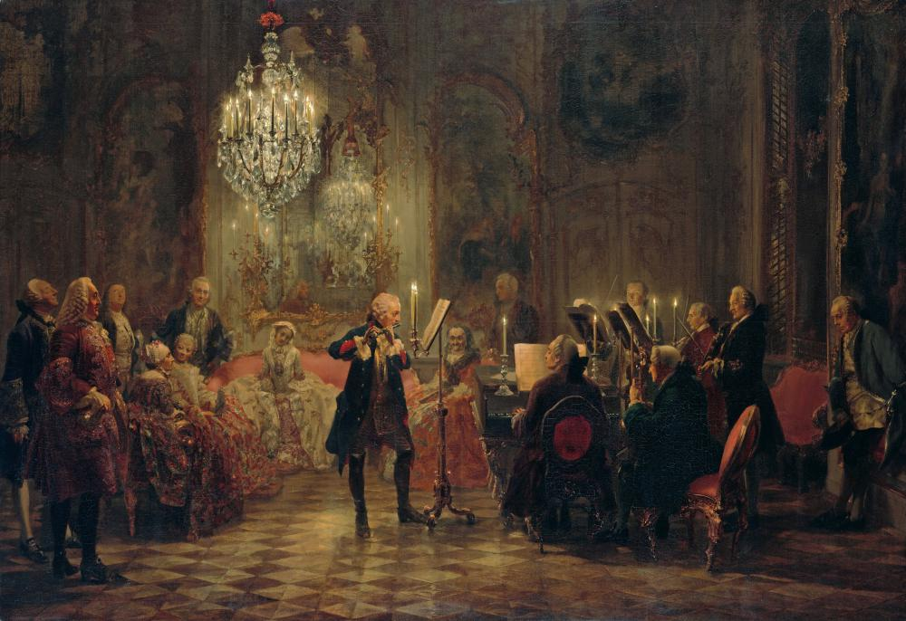 1852 painting of Friedrich II playing the flute un