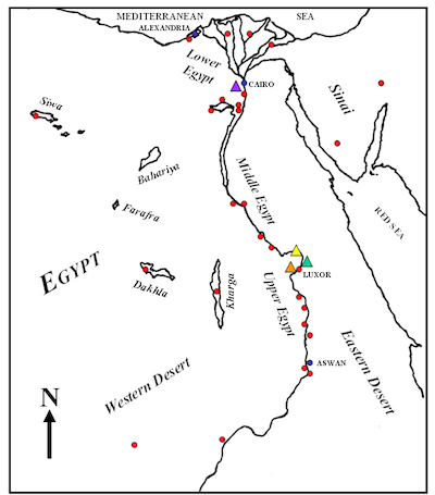 Maps of ancient Egypt (left/top) and Kush (right/b