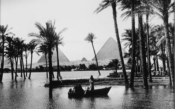 The pyramids of Giza at a time of high flooding an