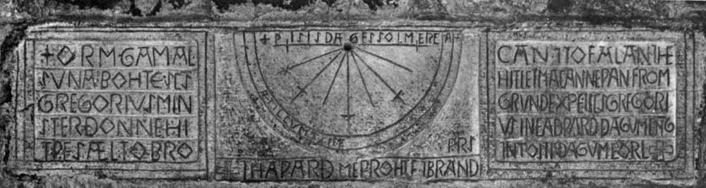 Vertical sundial, church of St Gregory, Kirkdale,