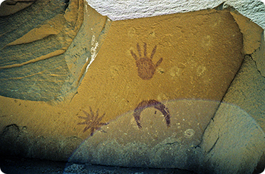 So-called supernova pictograph, Chaco Canyon, New