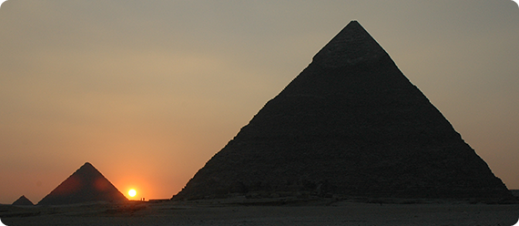 Pyramids of Giza, Egypt. Photograph © <a href=