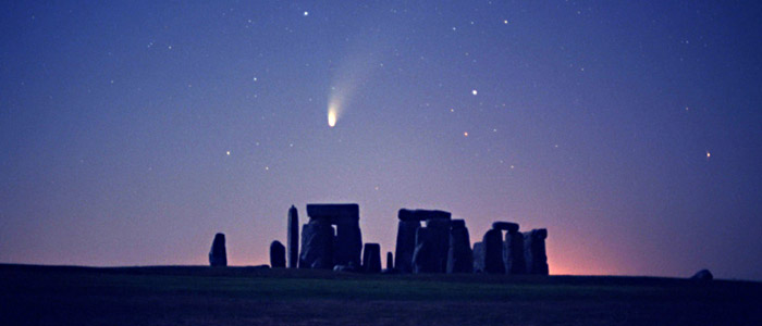 Comet Hale-Bopp's spectacular appearance above Stonehenge was documented in 1997. John Goldsmith, TWAN (twanight.org)