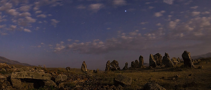 The moonlit stones of the Zorats Karer prehistoric necropolis, Armenia, also known as Karahunj (or the Speaking Stones). Babak Tafreshi, TWAN (twanight.org)
