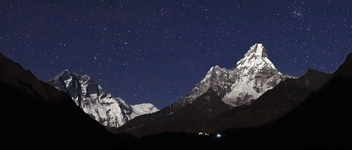 Spectacular Himalayan mountains in Nepal seen in moonlight. Oshin Zakarian, TWAN (Twanight.org)